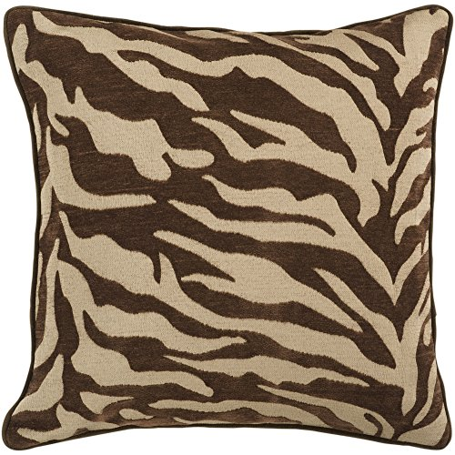 Surya JS-033 Contemporary Hand Crafted 100% Poly Brown 18'' x 18'' Animal Decorative Pillow by Surya