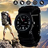 british army kit - Outdoor Military Survival Gear Sports Waterproof Watch for Men Women ,Army Paracord Bracelets Hiking Camping Watches ,Wrist Compass ,Whistle ,Fire Starter , Adjustable Glows