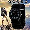 Outdoor Military Survival Gear Sports Waterproof Watch for Men Women ,Army Paracord Bracelets Hiking Camping Watches ,Wrist Compass ,Whistle ,Fire Starter , Adjustable Glows