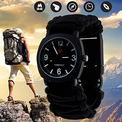 Outdoor Military Survival Gear Sports Waterproof Watch for Men Women ,Army Paracord Bracelets Hiking Camping Watches ,Wrist Compass ,Whistle ,Fire Starter , Adjustable Glows - Sports Equipment & Outdoor Gear