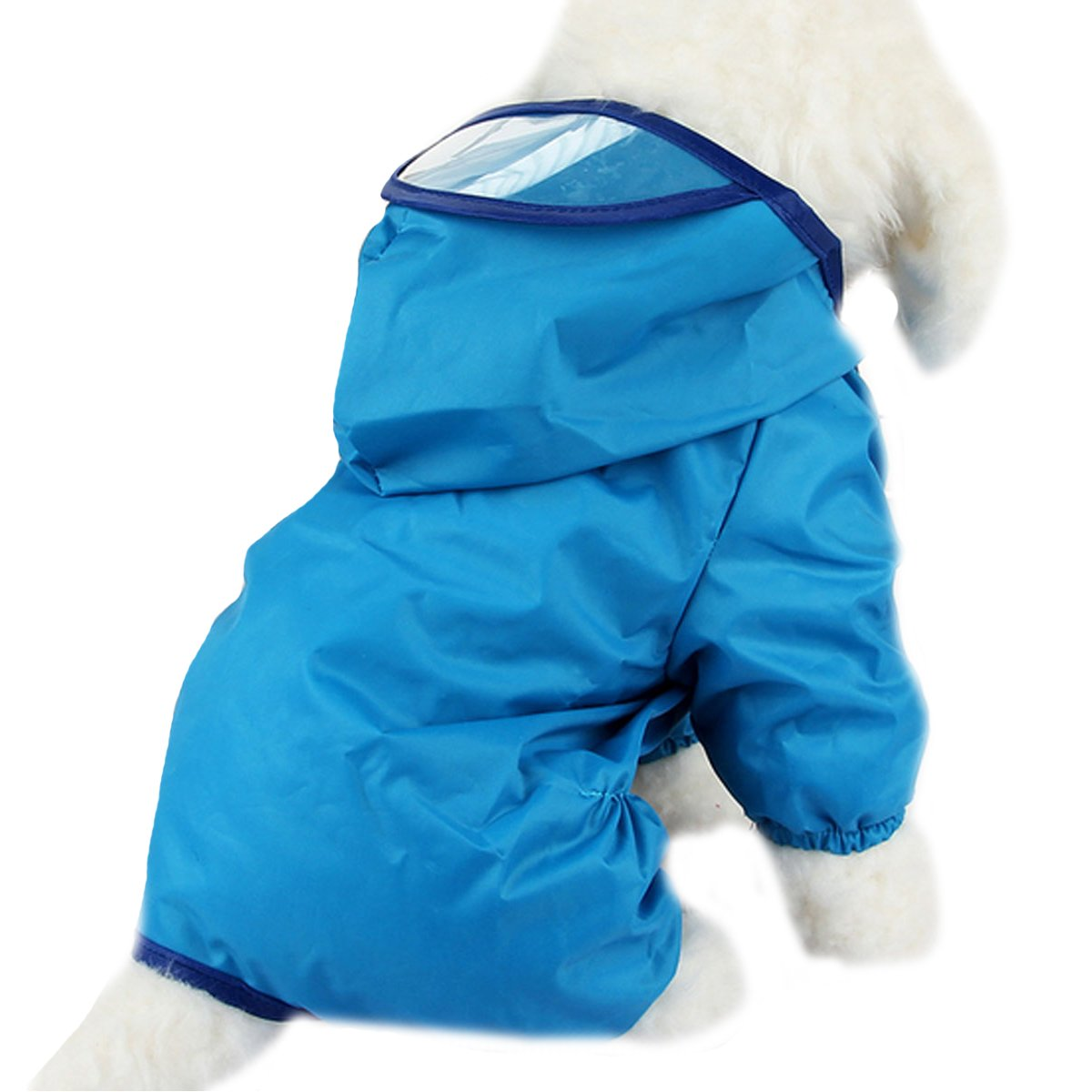 Budd Pet Dog Raincoat Puppy Waterproof Clothes Lightweight Rain Jacket Poncho Outdoor Hoodies Jumpsuit (Blue,M)