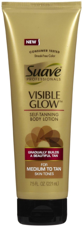 Suave Professionals, Gradual Self Tanner, Visible Glow, Medium-Tan, 7.5 Ounce [2 PACK]
