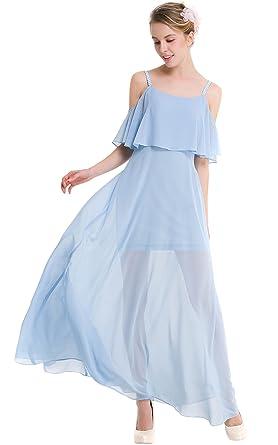 fb4bc163d1 chouyatou Women's Sexy Off Shoulder Tiered Flowy Stappy Maxi Beach Dress  (X-Small,