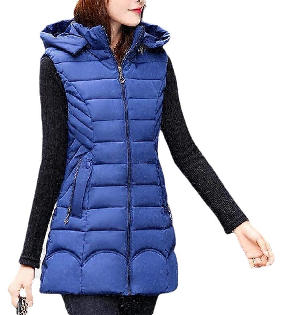 Qiangjinjiu Womens Zipper Up Hooded Coat Thickened Warm Sleeveless Long Down Vest Jacket