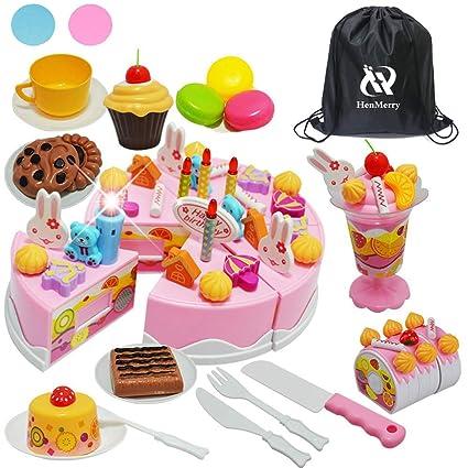 Amazon.com: Juega tartas de cumpleaños, juego de juguetes de ...