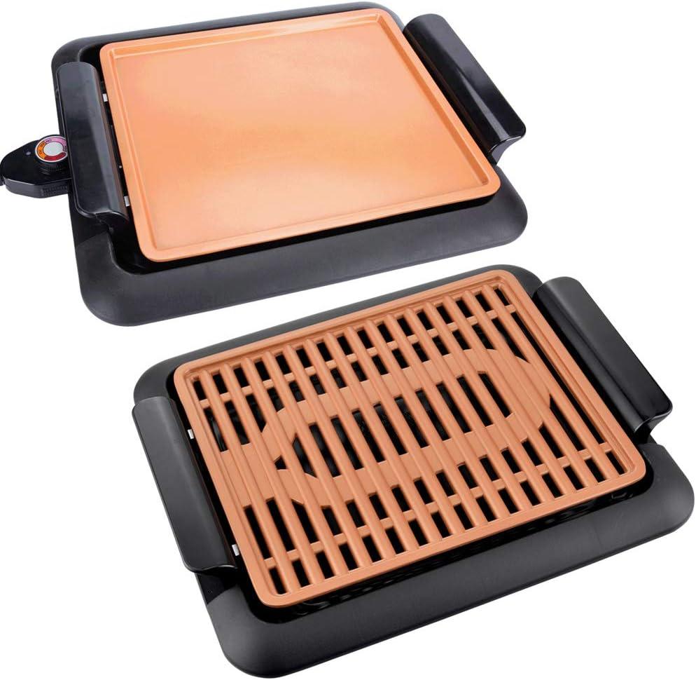 Parrilla eléctrica de Asar SIN Humo Lacado en Color Cobre con 2 planchas Intercambiables 2 en 1