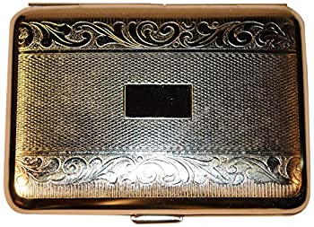 Budd Leather Stainless Steel Pill Box with Paisley Design and Engraving Area, Large