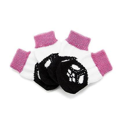 Limiz Calcetines para Perros Calcetines De Algodón Rosa para Mascotas Calcetines Antideslizantes Calcetines De Otoño Calcetines