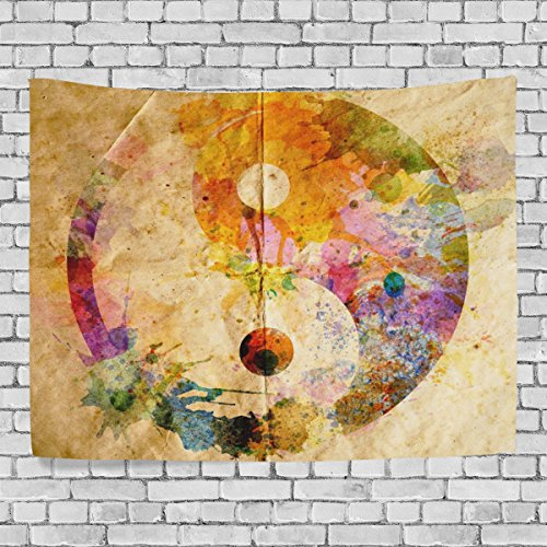 WellLee Wall Tapestry,Colorful Tai Chi Bagua Yin Yang,Dorm Throw Bedroom Living Room Window Doorway Curtain Home Decor,Tapestry Wall (Glitter Wall Hanging)