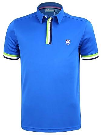 3bccf7d7 Bunker Mentality Mens Cmax Tri Stripe Golf Polo Shirt - Blue: Amazon.co.uk:  Clothing