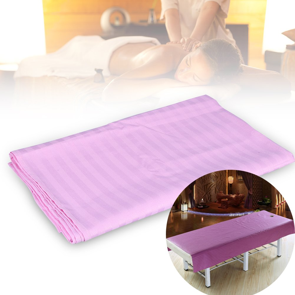 Soft Cotton Stripe Beauty Salon Sheet SPA Treatment Bed Cover With Face Breath Hole(120 * 200-White) Brrnoo