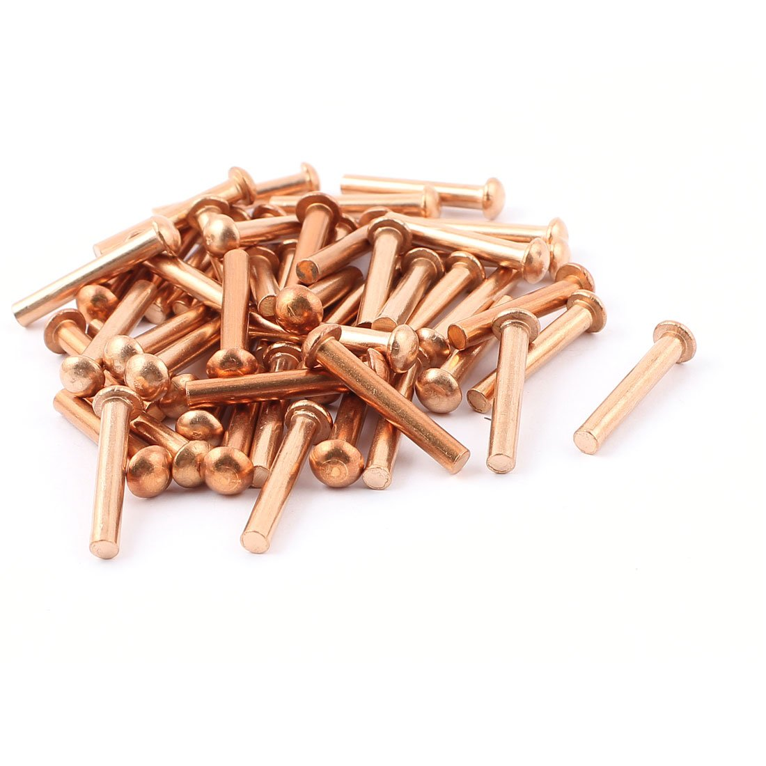 uxcell 50 Pcs 5/32 inches x 1 inches Round Head Copper Solid Rivets Fasteners by uxcell