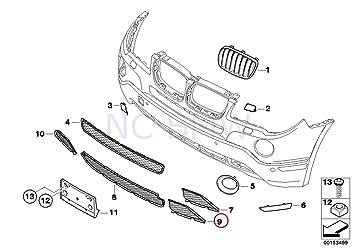 Original de BMW X3 E83 parachoques delantero Abierto rejilla negro rejilla izquierda OEM 51113416207: Amazon.es: Coche y moto