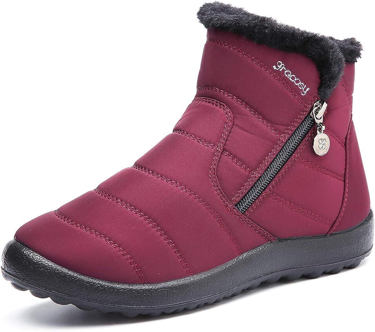 gracosy Botas de Mujer Otoño Invierno Goma Forro de Piel Punta Redonda Botas de Nieve Zapatos de Trabajo Calzado Antideslizante Ligero Botines Caminan
