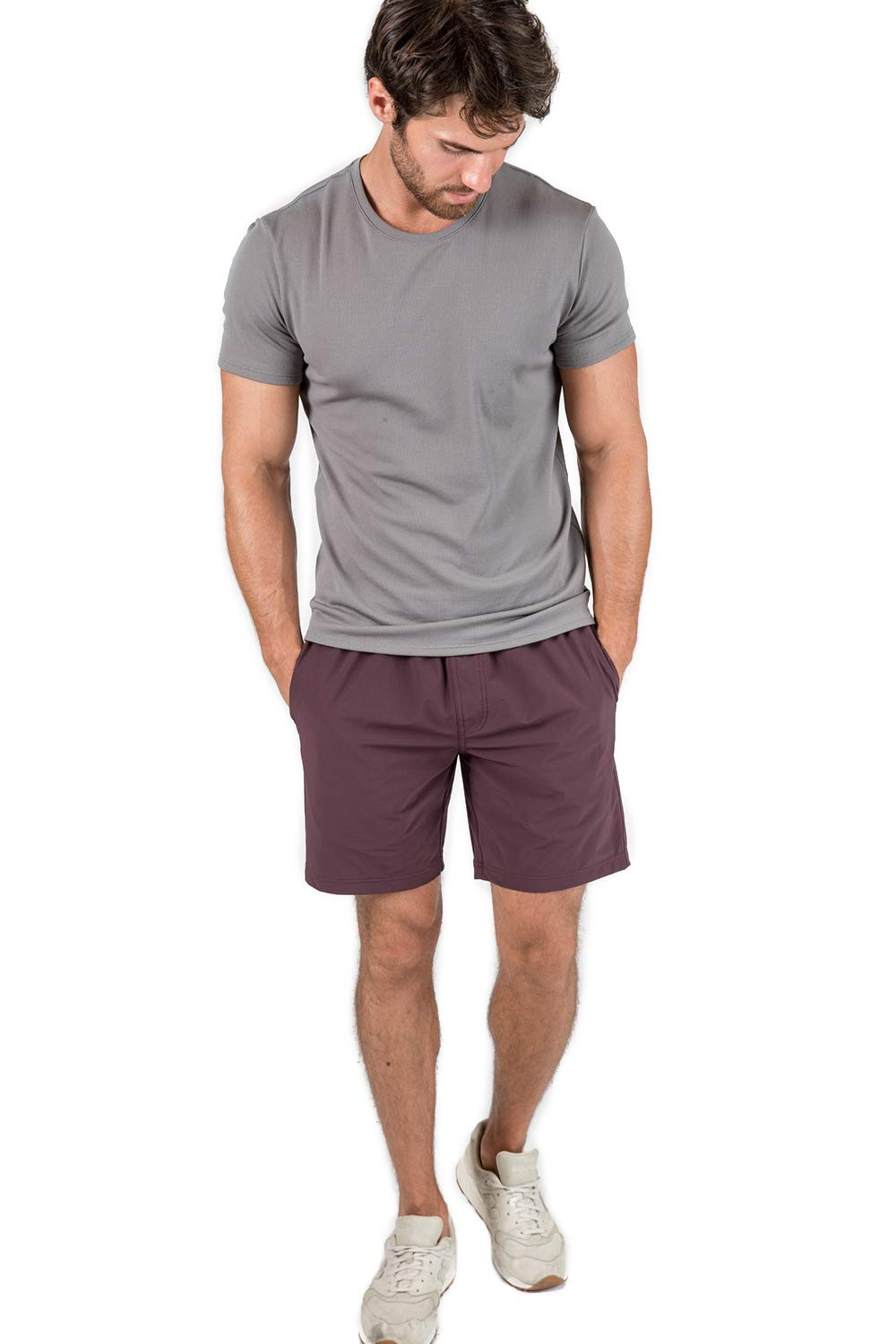 OLIVERS Apparel, Mens Water Repellent, 4-Way Stretch, All Over Short. Perfect for Running, Yoga, and Weightlifting (Small, Dark Crimson)