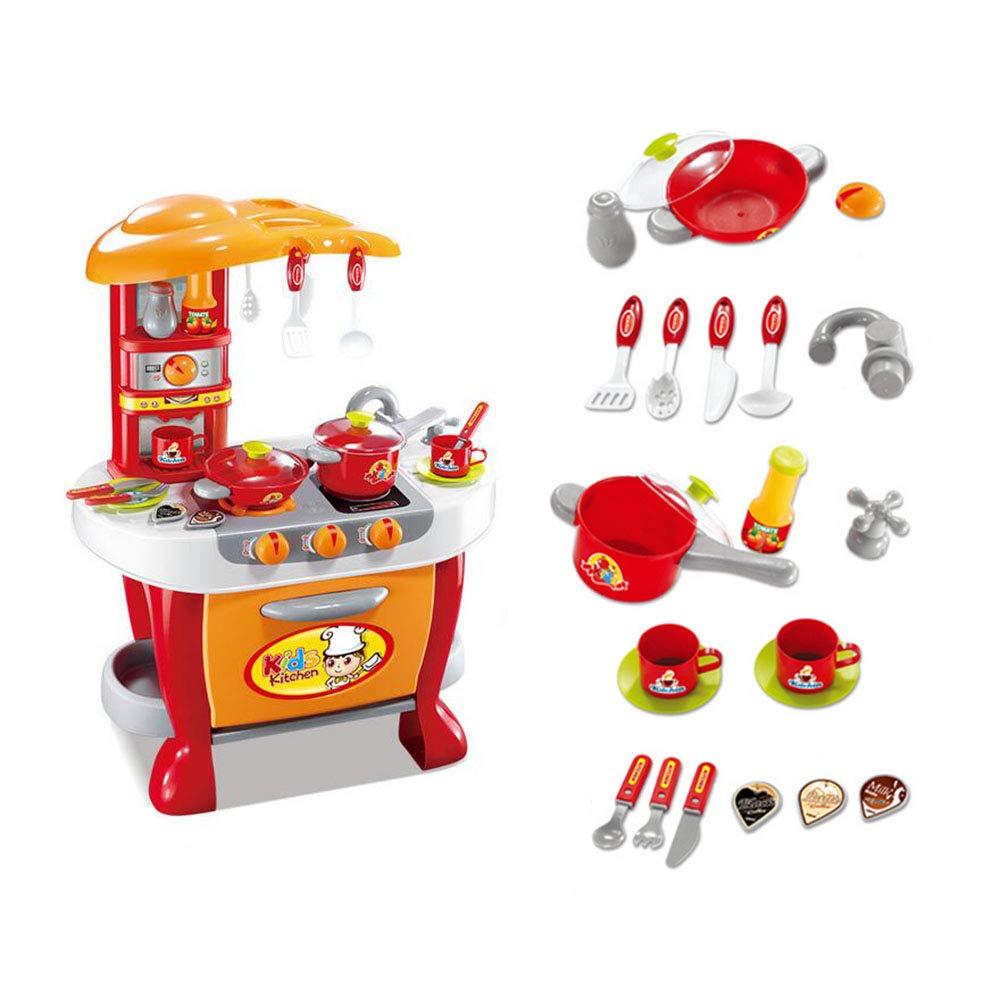 FJY Kinderküche Spielküche Kinderspielküche Küche Spielzeugküche Mit 20-Teiligem,Kindergeburtstag, Orange