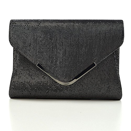 Essex Bag Womens Evening Glam Clutch Purse Black Glitter Glitter Envelope gA6xfgv