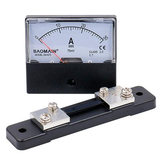 DC 30A Analog Amperemeter Panel Tragbar 0-30A Strommesser Langlebiges Analog Amperemeter Panel Professionelles Messger/ät Wei/ß