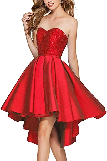 US High Low Beaded Prom Party Cocktail Dress Sweetheart Homecoming Ruffled Dress