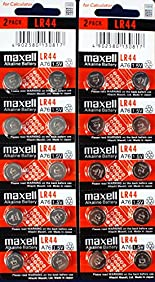 Maxell LR44, Alkaline Button Cell Battery, No Mercury 1.5 Volt, (20 Batteries)