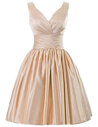 JAEDEN Short Bridesmaid Dresses Satin Prom Dress V Neck Ruched Gown 60PC US2