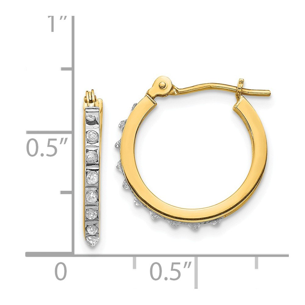 d0869cd73 Amazon.com: 14K Yellow Gold Diamond Fascination 15mm Small Hinged Leverback Hoop  Earrings: Jewelry