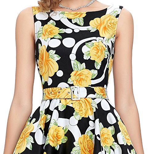 11 4 Para Estilo Vestido Mujer Floral Yafex 5pIqwYAxv