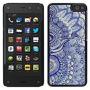 Caucho caso de Shell duro de la cubierta de accesorios de protección BY RAYDREAMMM - Amazon Fire Phone - Modelo del papel pintado floral azul de Arte Nativo Real