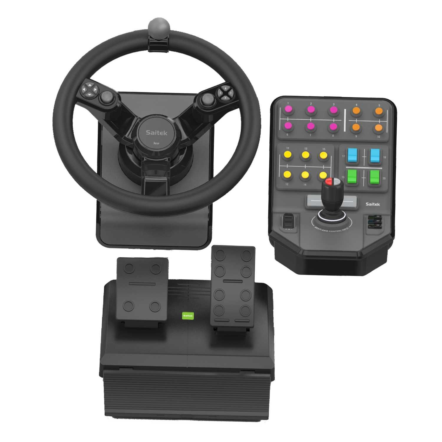 Saitek Farming Simulator Wheel Pedals Vehicle Side Four Way Hat Switch Panel Bundle Scb432160002 01 1 Computers Accessories