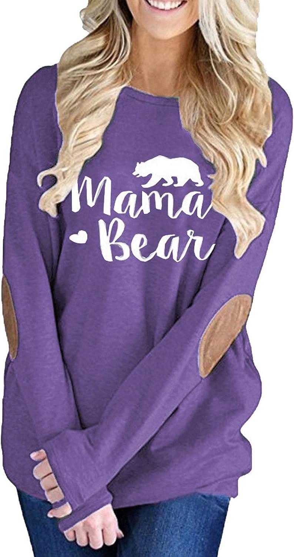 ALBIZIA Womens Long Sleeve Crew Neck Mama Bear Elbow Patch T Shirt Top
