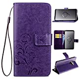 Cheap Samsung Galaxy S9 Plus Case, Galaxy S9 Plus Wallet Case, Crosspace S9 Plus Lucky Flowers PU Leather Stand Protective Cover with Card Slots and Detachable Wrist Lanyard for Samsung S9 Plus-Purple