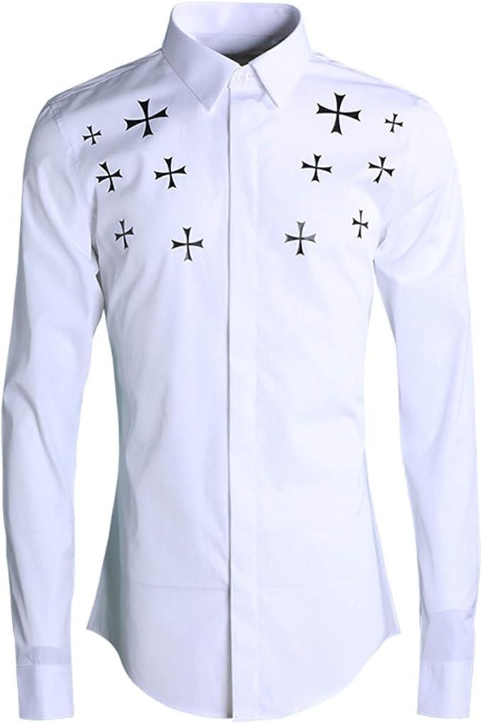 HOSD Nueva Camisa de Hombre de Moda Delgada con Estampado ...