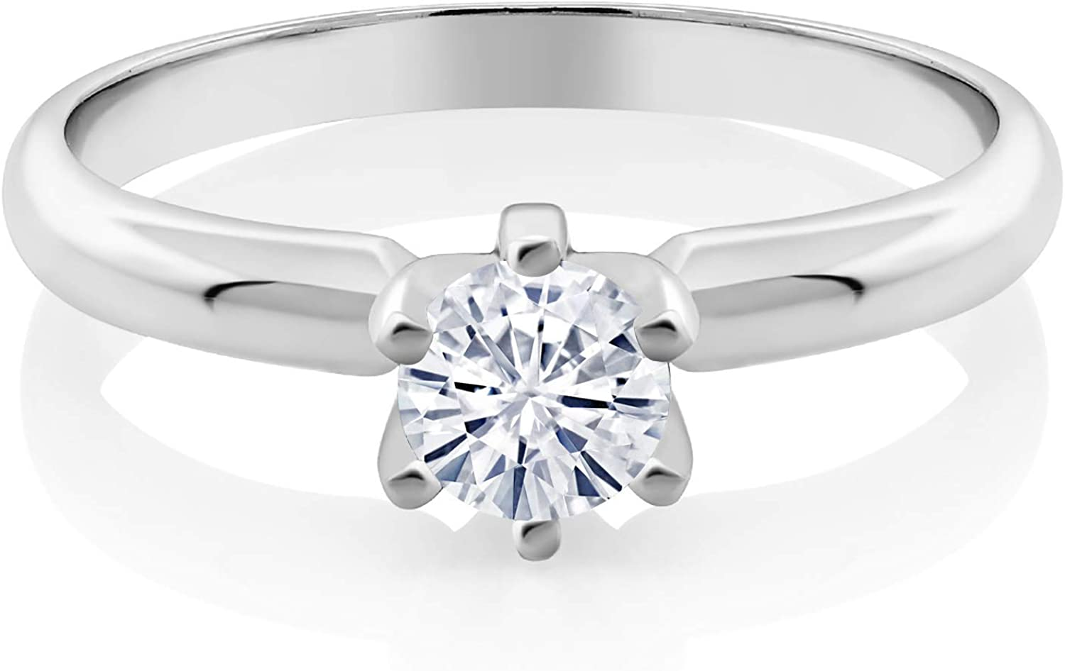 925 Sterling Silver 2 Ct Near White Round Moissanite Solitaire Engagement Ring 7