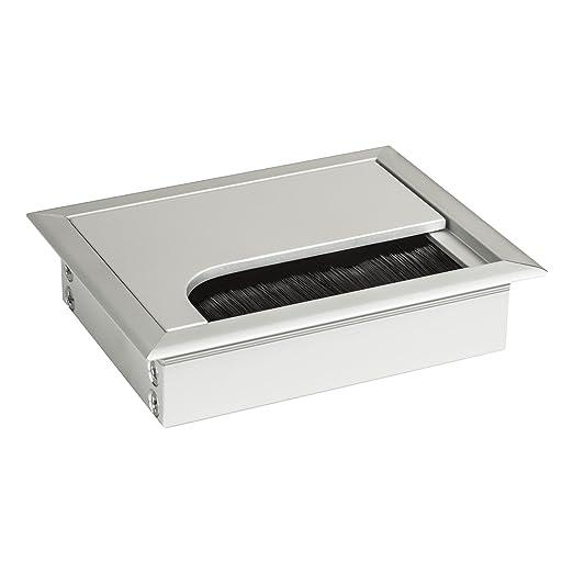 """14 opinioni per SO-TECH® Passacavo """"CAVO"""" in Alluminio Argento Anodizzato Rettangolare 100 x 80"""
