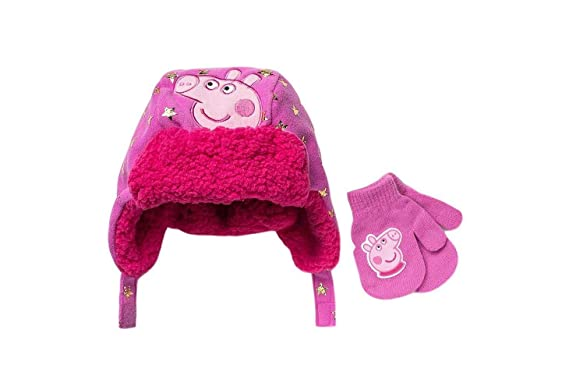 14a563c024e40 Peppa Toddler Girls Pig Winter Hat Cold Weather Mitten Set Little Kids   Amazon.co.uk  Clothing