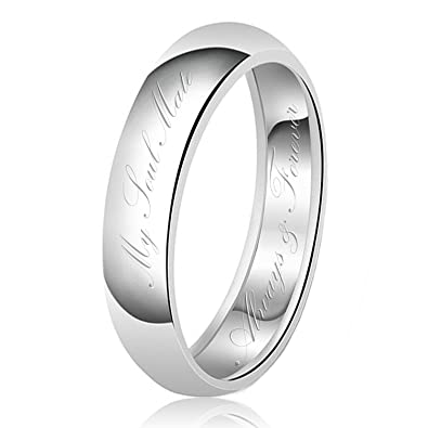 6mm My Soul Mate Always Forever Engraved Classic Sterling Silver