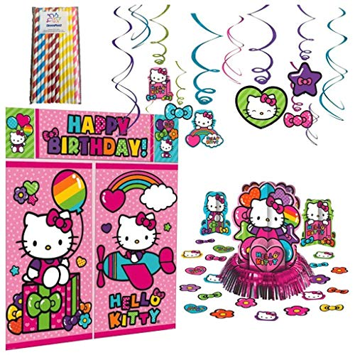 Hello Kitty Rainbow Birthday Party Decorating Supplies Pack Bundle: Hanging Swirls, Scene Setter, Table Decorating Kit and ElevenPlus2 Paper Straws