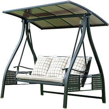 ZDYLM-Y 3 Personas Columpio Balancín Jardín con Bandeja de Almacenamiento y Asientos Acolchados, con Barra de luz Solar: Amazon.es: Deportes y aire libre