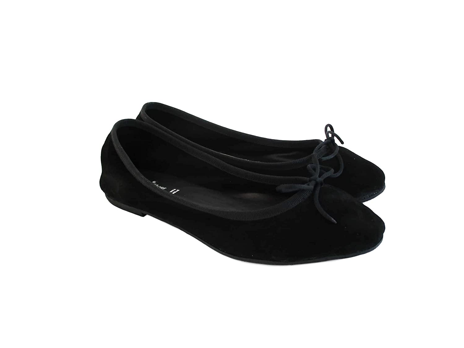 Womens Shoes Real Suede -SilferShoes Black Color Made in Italy Womens Ballet Flat