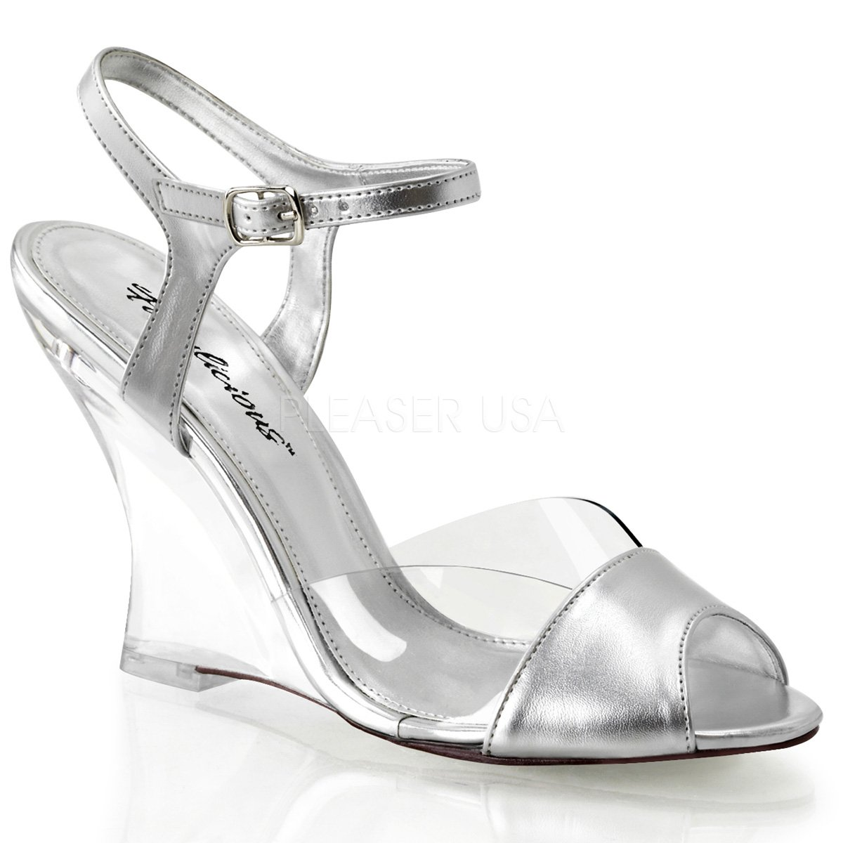 Fabulicious Women's Lovely 442 Ankle Strap Sandals B00JEY1PCK 11 B(M) US|Clear Silver Metallic Pu / Clear