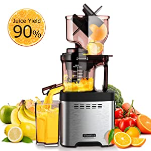 Slow Masticating Juicer Machine – Vitaextra Cold Press Juicer Extractor with Wide Chute, 90% High Juice Yield, Easy to Clean, Quiet Motor, Vacuum Cup, Get Rich Nutrition & Tasty Juice of Veggies & Fruits