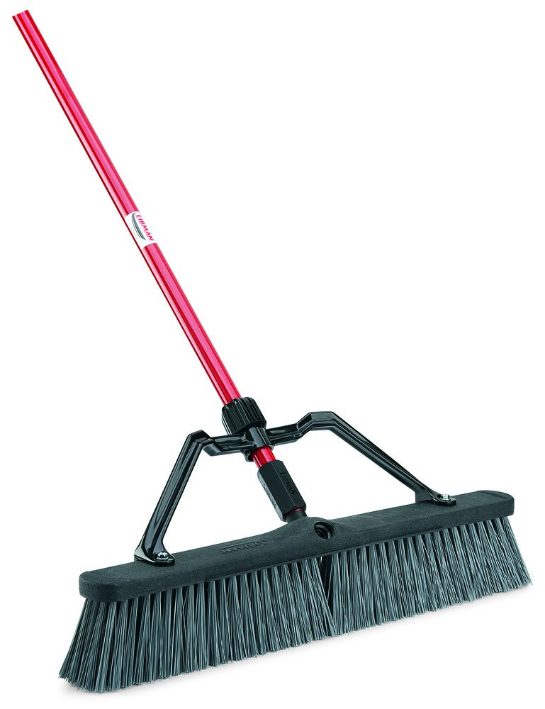Libman Commercial 825 Rough Surface Heavy Duty Push Broom, 64'' Length, 24'' Width, Black/Red/Grey (Pack of 3)