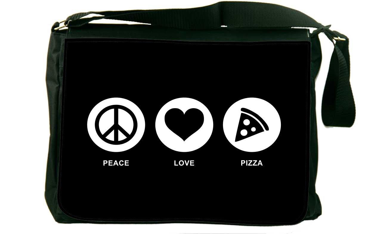 Rikki Knight Peace Love Pizza Black Color Messenger Bag School Bag