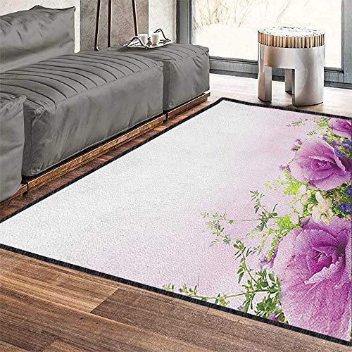 - Flower Vintage Area Rug,Spring Cabbage Flowers in Fragrant Bouquet with Partially Shaded Color Romance for Dorm Playing Room Lavender Green 79