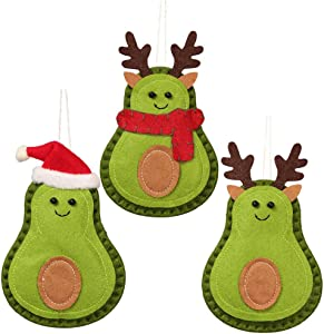 VORCOOL 3Pcs Creative Christmas Avocado Pendent Novelty Christmas Tree Hanging Ornaments with Santa Hat Scarf Reindeer Anlters for Holiday Christmas Party Decoration Supplies Gifts
