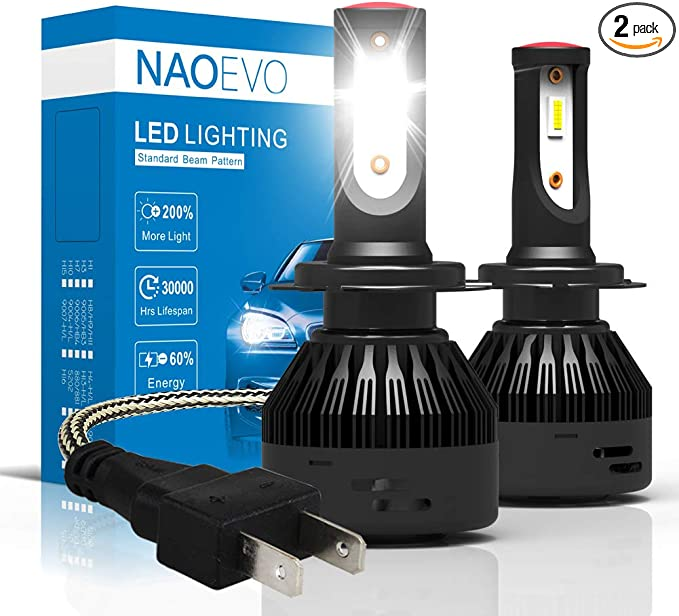 LED Kit N2 72W H7 6000K White Two Bulbs Head Light Low Beam Replacement Upgrade