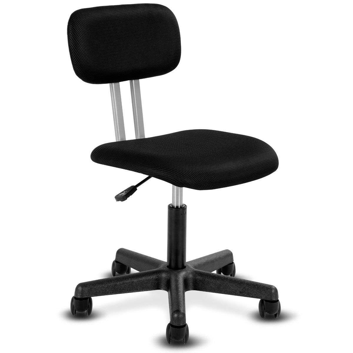 Giantex Armless Mid-Back Mesh Office, Computer Desk Swivel Height Adjustable Chair Student Ergonomic Modern Chair with Breathable Cushion, Black Iron Support Back