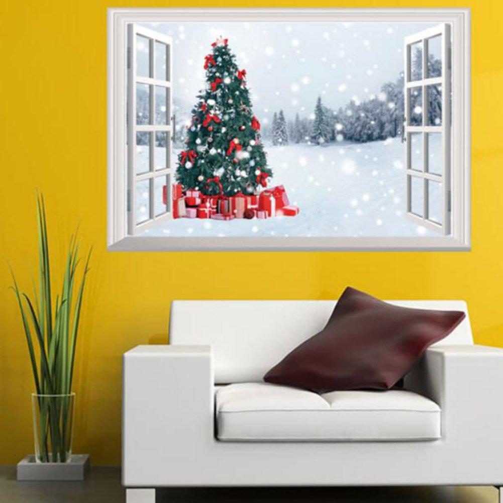 Amazon.com: Canghai 3D Fake Window Christmas Tree Snow Scene ...
