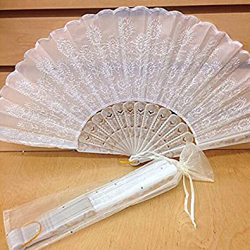 amazon com 12 sparkle white organza bag for hand fan wedding party