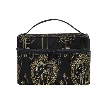 eaf6377c91f6 Amazon.com : Rose Gold Unicorn Black Background Travel Toiletry Bag ...